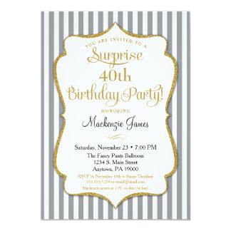 Oro gris gris de la invitación del fiesta de