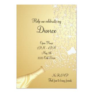 Oro haciendo estallar la invitación del divorcio invitación 12,7 x 17,8 cm