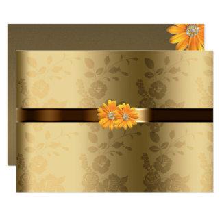 Oro homosexual/lesbiano y flores amarillas invitación 11,4 x 15,8 cm