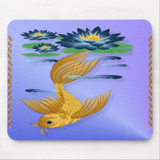 Oro Koi y lirios azules profundos Mousepads Tapete De Ratones
