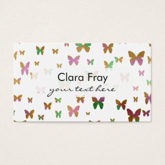 oro lindo y modelo de mariposa color de rosa de la tarjeta de negocios