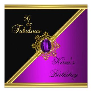 oro magenta del negro de la gema del 50.o invitación 13,3 cm x 13,3cm
