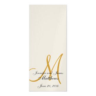 Oro metálico del monograma del programa de la invitación 10,1 x 23,5 cm