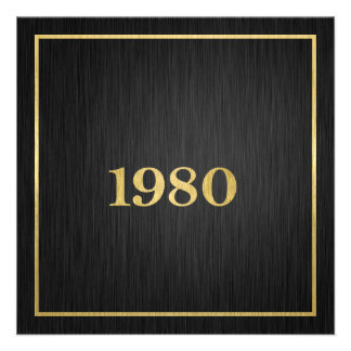 Oro metálico elegante el an o 80 comunicado personalizado