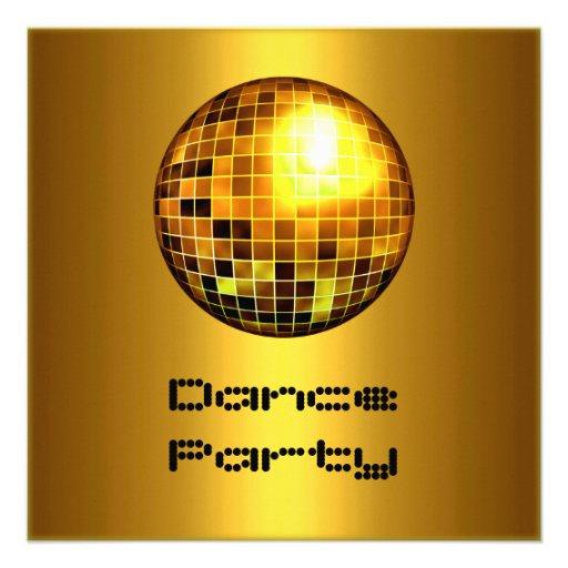 Oro Mirrorball del acontecimiento del baile Invitaciones Personalizada