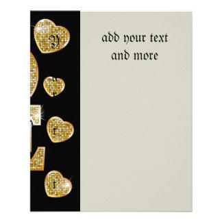Oro, modelo, amor, negro, de moda, femenino, folleto 11,4 x 14,2 cm