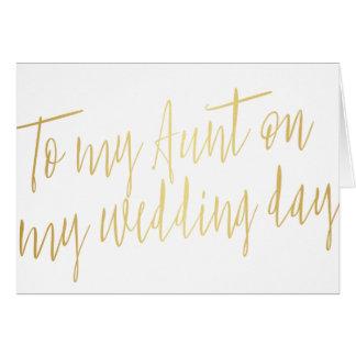 "Oro moderno ""a mi tía en mi día de boda "" tarjeta de felicitación"