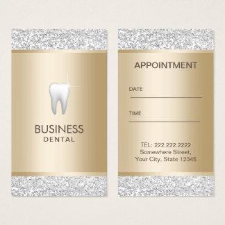 Oro moderno del dentista y cita dental de plata tarjeta de negocios