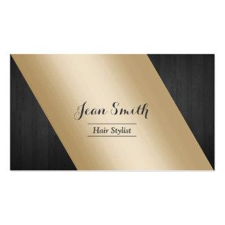 Oro moderno y estilista de madera oscuro tarjetas de visita