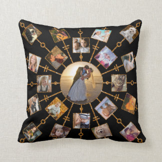 Oro negro bonito de las imágenes del collage 42 de cojín decorativo