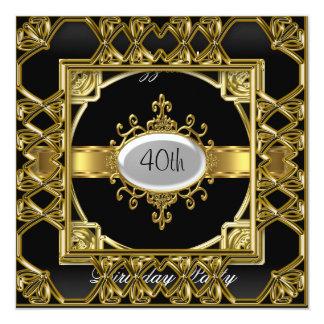 Oro negro del negro de la invitación de la fiesta