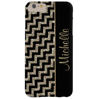 Oro negro diagonal de Chevron personalizado Funda Barely There iPhone 6 Plus