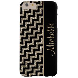 Oro negro diagonal de Chevron personalizado Funda Barely There iPhone 6 Plus