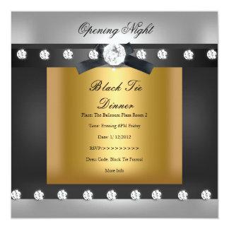 Oro negro formal de apertura del negocio invitación 13,3 cm x 13,3cm