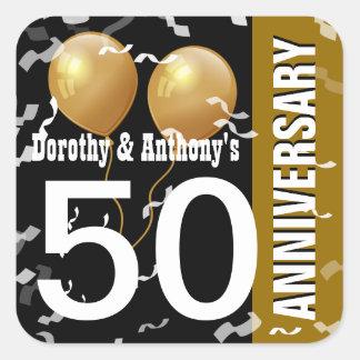 ORO NEGRO K96Z del aniversario del confeti 50.o de Pegatina Cuadrada
