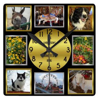 Oro negro personalizado imagen del personalizado 8 reloj cuadrado