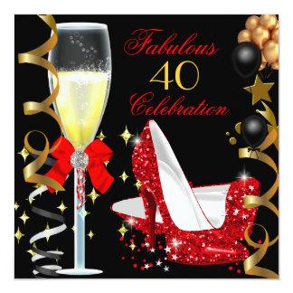 Oro negro rojo 40 y 40.a fiesta de cumpleaños invitación 13,3 cm x 13,3cm