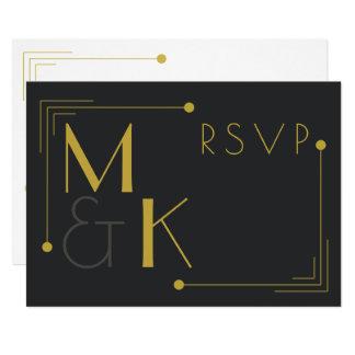 Oro negro RSVP del estilo 1920 del art déco Invitación 12,7 X 17,8 Cm