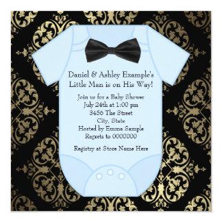 Oro negro y ducha azul del bebé del damasco invitación 13,3 cm x 13,3cm