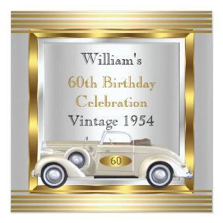 Oro para hombre y plata de la fiesta de cumpleaños invitación 13,3 cm x 13,3cm