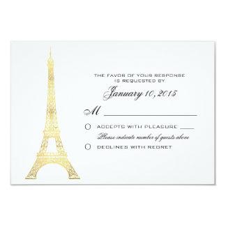 Oro parisiense de la torre Eiffel que casa el Invitación 8,9 X 12,7 Cm