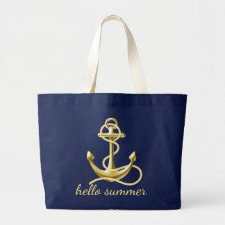 Oro personalizado de los azules marinos de la bolso de tela grande