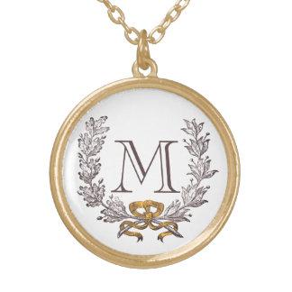 Oro personalizado guirnalda de la inicial del mono colgante redondo
