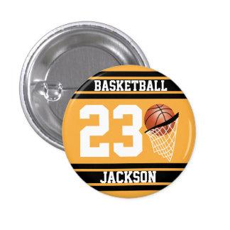 Oro personalizado y negro del baloncesto chapa redonda 2,5 cm