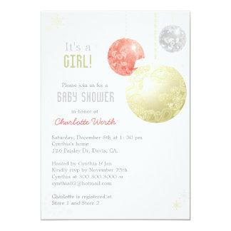 Oro, plata, fiesta de bienvenida al bebé roja de invitación 12,7 x 17,8 cm