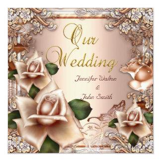 Oro poner crema beige del boda elegante subió invitación 13,3 cm x 13,3cm