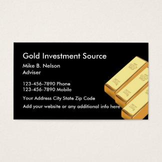 Oro que invierte materias tarjeta de visita