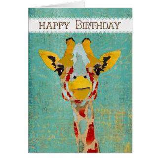 Oro que mira a escondidas la tarjeta de cumpleaños