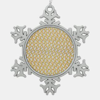 Oro que pesca arte abstracto adorno de peltre en forma de copo de nieve