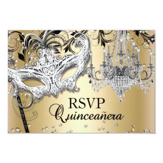 Oro Quinceanera RSVP de la mascarada de la lámpara Invitación 8,9 X 12,7 Cm