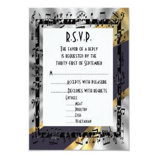 Oro R.S.V.P que se casa formal del negro y del Invitaciones Personalizada