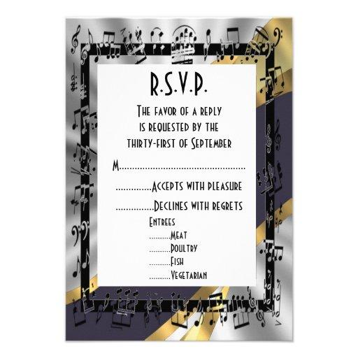 Oro R.S.V.P que se casa formal del negro y del siv Invitaciones Personalizada