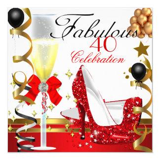 Oro rojo 40 y 40.a fiesta de cumpleaños fabulosa invitación 13,3 cm x 13,3cm