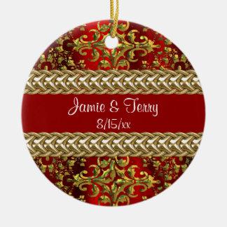Oro rojo del damasco, ornamento de cadena del boda adorno redondo de cerámica