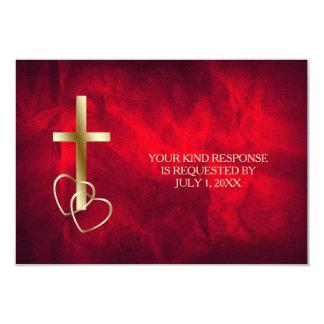 Oro rojo RSVP que se casa cruzado cristiano Invitación 8,9 X 12,7 Cm