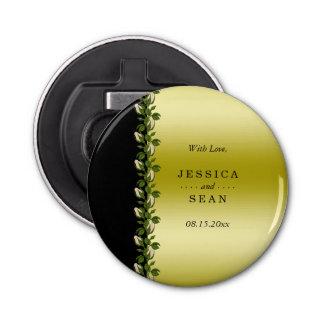 Oro romántico floral elegante y favor negro del abrebotellas redondo