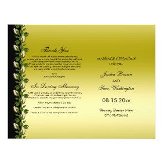 Oro romántico floral elegante y programa negro del