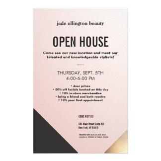 Oro rosado moderno y salón de belleza negro de folleto 14 x 21,6 cm