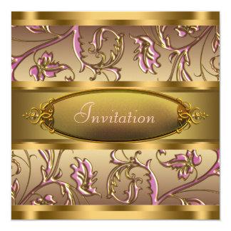 Oro rosado todas las invitaciones del fiesta de la invitación 13,3 cm x 13,3cm