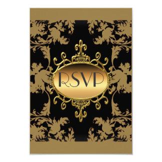 Oro RSVP del negro del fiesta de RSVP Invitación 8,9 X 12,7 Cm