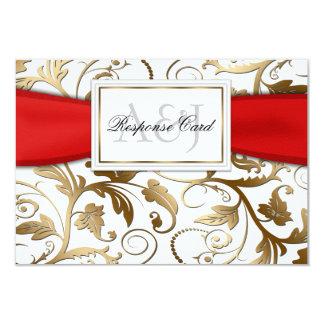 Oro RSVP floral con el arco rojo Invitación 8,9 X 12,7 Cm