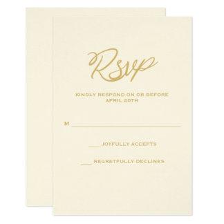 Oro Script casar la tarjeta de RSVP Invitación 8,9 X 12,7 Cm