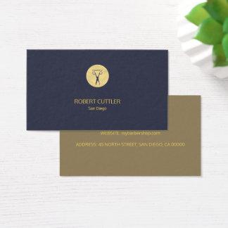 Oro simple de lujo de la peluquería de caballeros tarjeta de negocios