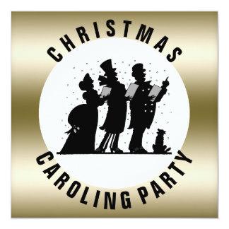Oro simple del fiesta de Caroling del navidad Invitación 13,3 Cm X 13,3cm