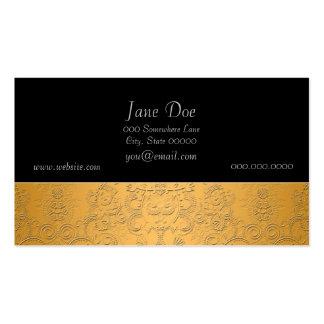 Oro simulado con diseño adornado grabado en reliev plantilla de tarjeta personal