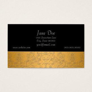 Oro simulado con diseño adornado grabado en tarjeta de negocios
